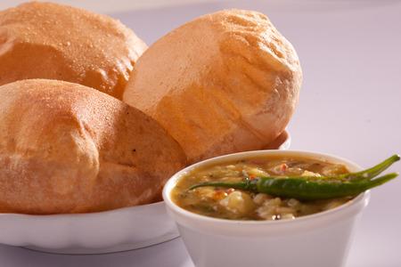 puri: Puri bhaji-An Indian dish  Stock Photo