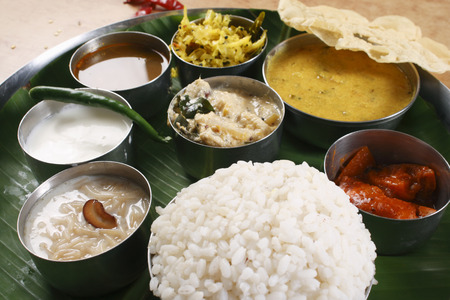 india food: Malabar Thali - a selection of different dishes