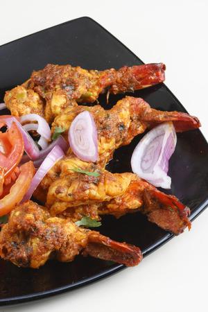 indian cookery: Tawa Prawn - Goan dish made of prawns skewered and cooked on tawa