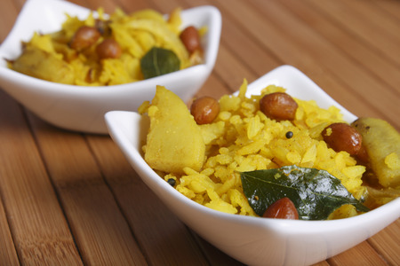 Poha - A snack made of beaten rice Stock fotó