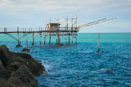 Traditional fishing machine in Abruzzo, Italy: the overflow