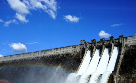 spillway: Dam and rainbow