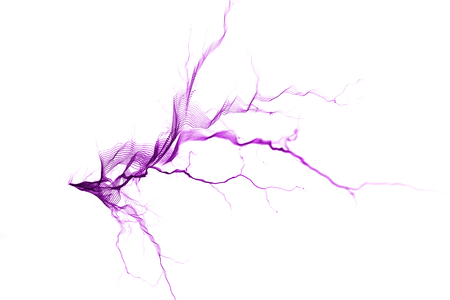Electrostatic Discharge, spark, air ionization, lightning  on white background