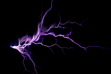 Electrostatic Discharge, spark, air ionization on black background