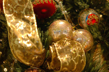 cel: Christmas Golden Ornaments Stock Photo