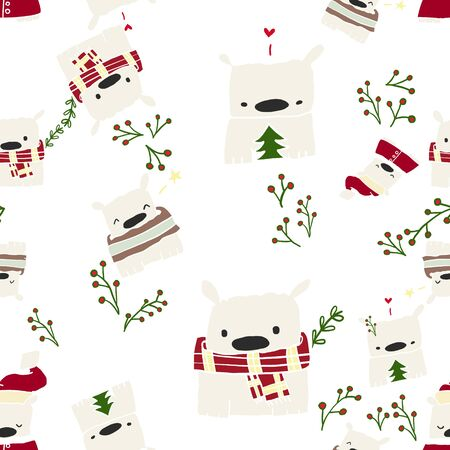 A cute bear is the protagonist of this series pattern, with Christmas and festive atmosphere