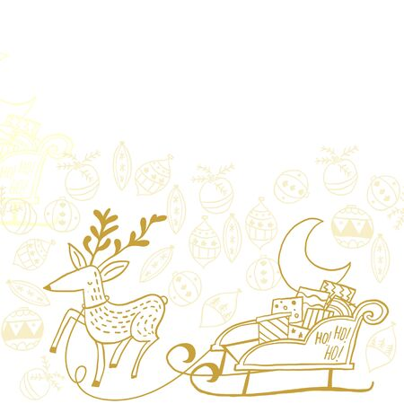 Reindeer carrying Santa`s sleigh with gifts through Christmas decorations. Pattern with different colors and sizes