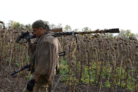 Sniper rifle. Ukraine, Lugansk region, October 2016. The war in Ukraine