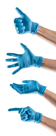 Some hands with blue latex glove making different gestures Foto de archivo