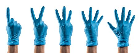 Some hands with blue latex glove counting one to five