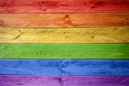 Wooden wall with the colors of the LGTB flag
