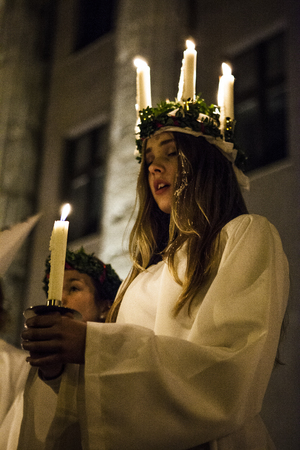 lucia: During the Swedish singers performance for the feast of Saint Lucia, December 8 2015, Rome Editorial