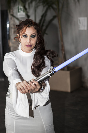 senator: cosplay princess Padme Amidala, armed lightsaber