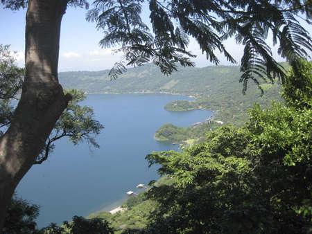 el: A view from Coatepeque lake in El Salvador