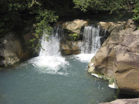 Costa Rican  Rain Forest Pristine Waterfall Stok Fotoğraf