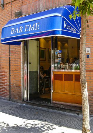 Facade of the bar Eme in Bilbao, Vizcaya, Basque Country.