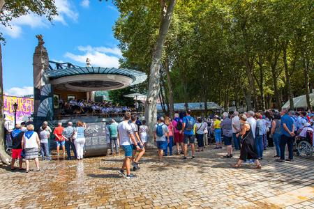 Festive atmosphere in the gardens of El Arenal in the Aste Nagusia-Big Week of Bilbao, Vizcaya, Basque Country.