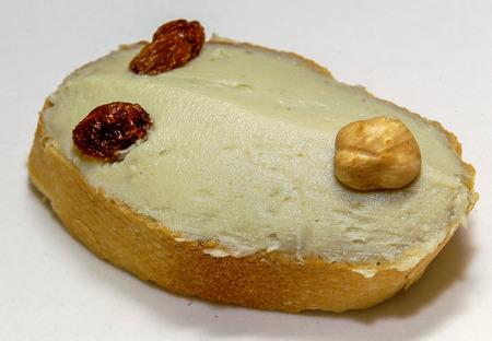 Classic pincho of Bilbao: Cream of blue cheese of the bar Gaztandegui. Stock Photo