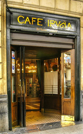 Facade of the Caf? Iru? ? a in Bilbao, Vizcaya, Basque Country. Editorial