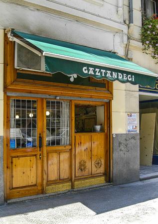 Facade of the bar Gaztandegui in Bilbao, Vizcaya, Basque Country.