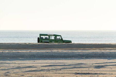 Almonte, España, February 2, 2020: Beach drive on all terrain car