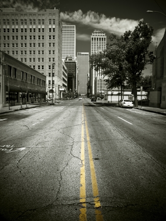 An empty street in Downtown Tulsa
