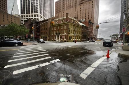 Wet street after hurricane Irene in New York