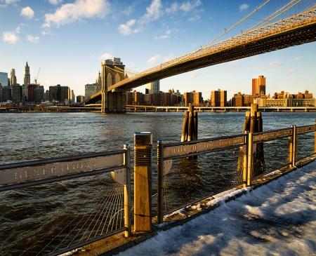 Manhattan and Brooklyn Bridge from Old Fulton Street