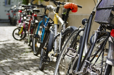 Bikes Parked in a Street of Berlin Stock Photo