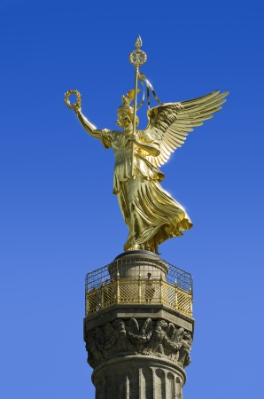 Statue of the Berlin Victory Column, in the center of Tiergarten Stock Photo