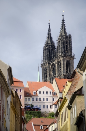 Historic center of Meissen, with the cathedral on top of Burberg Stock Photo