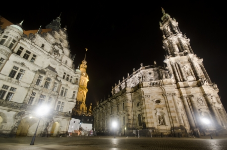 Night Scene with the Catholic Church of the Royal Court of Saxony in Dresden
