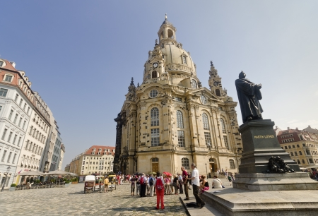 Statue of Martin Luther and Frauenkirche, in Dresden