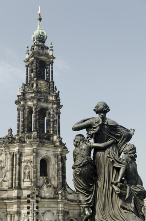 Statue and the Tower of the Catholic Church of Dresden