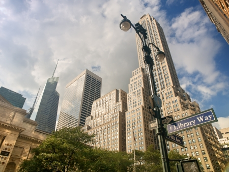 New York Skyscrapers on 5th Avenue, Next to the Public Library