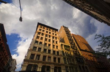 Last Sun Rays in a Stormy Evening, SoHo, New York Stock Photo