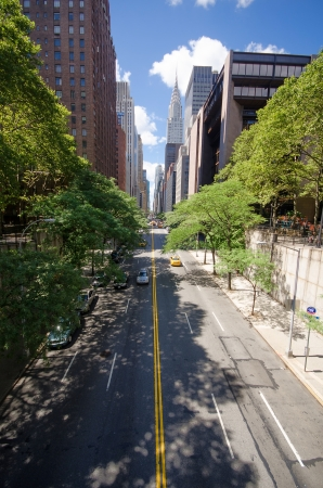 View of Manhattans 42nd Street from Tudor City Place Stock Photo