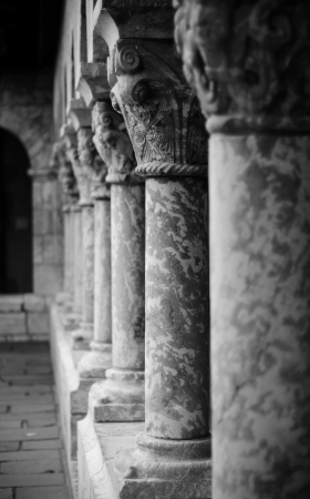 Columns of the Cloisters in New York Stock Photo