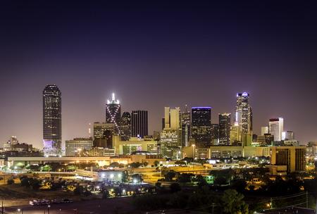 Night View of Dallas Skyline Stock Photo