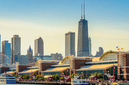 Navy Pier and Chicago Skyline Editorial