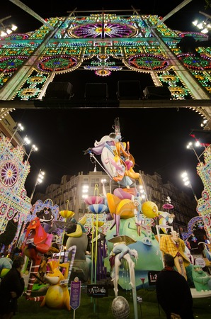 VALENCIA, SPAIN - MARCH 17: The Fallas is a traditional celebration in which hundreds of papier mache sculptures are eventually burnt Saint Josephs night, March 17, 2013 in Valencia, Spain Editorial