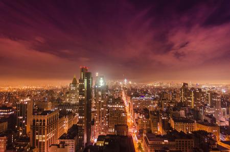 Aerial Niht View Towards South Manhattan
