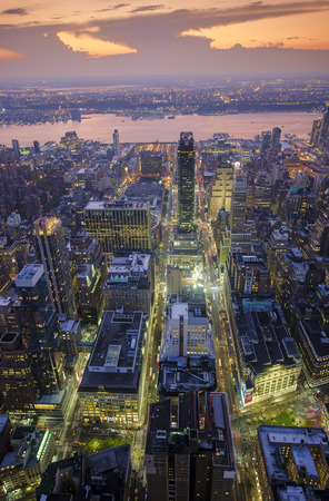 Aerial View of Midtown Manhattan and Hudson River at Dusk Editorial