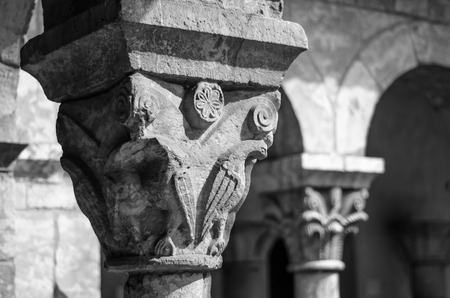 Capital of a Column in the Cloisters Museum, New York Stock Photo