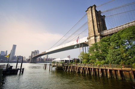 View of East River and Brooklyn Bridge