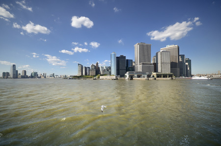 Skyscraper of Downtown Manhattan as Seen from Staten Island Ferry. Stock Photo