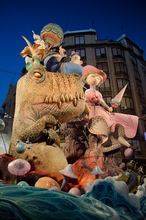 VALENCIA, SPAIN - MARCH 18: The Fallas is a traditional celebration in which hundreds of papier mache sculptures are eventually burnt on Saint Josephs night, March 18, 2013 in Valencia, Spain Editorial