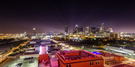 Night View of Dallas Skyline Imagens