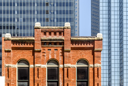Contrast of old and new buildings in Downtown Dallas Editorial