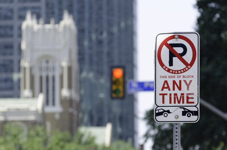 Parking Prohibition Sign, Dallas. Stock Photo